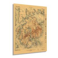 1922 Acadia National Park Map Print - Vintage Acadia Maine Wall Art Poster Decor