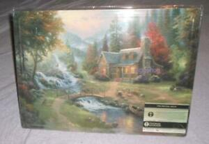 "thomas kinkade painted tin metal sign country cabin by a stream autumn 16"" x 12"""