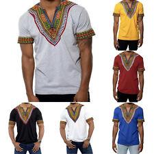 Herren Sommer Shirt Kurzarm Afrikanisch Stammes T-Shirt Freizeit Oberteil Hemd