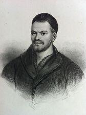 RABELAIS portrait GRAVURE originale XIXème