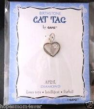 Nip Ganz Birthstone Cat Tag Charm Heart w/ Paw Shape Stones April/Clear Bogo 50%