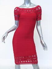 Herve Leger Dress: Red Off-Shoulder Cocktail Dress, Size S, New