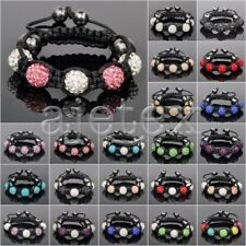 5pcs Crystal Disco Ball Rhinestones Beads 10mm Adjustable Bracelet 22 Color