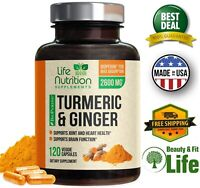 TURMERIC CURCUMIN with GINGER & BIOPERINE Black Pepper 2600 mg 120 Capsules