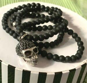 Thomas Sabo Kette REBEL Totenkopf Skull Obsidian Zirkonia schwarz OVP WIE NEU
