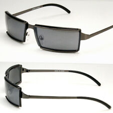 Men Rectangular Designer Sunglasses Wrap Around Fashion Shades Black Metal Frame