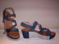Ambra scarpe sandali casual Made in Italy donna zeppa plateau pelle blu marroni