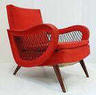 Armchair Vintage Rockabilly 1950 Beech & Wool Jersey Red Dlg Marco Zanuso