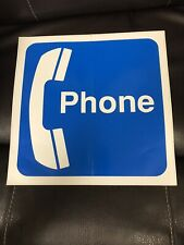 """Vintage, Retro Phone Booth Decal Sticker, Blue & White, 12"""" X 12"""", 1990s, NEW!"""