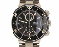 ORIS TITANIUM AUTOMATIC 51mm PRO DIVER CHRONOGRAPH WATCH W/ BLACK DIAL 7630-71