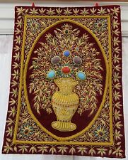 INDIAN DENSELY WORKED METAL THREAD COUCH EMBROIDERY  WALL HANGING PICTORIAL  RUG