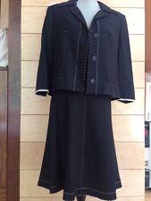 EUC Alberta Ferretti Black Jacket & Skirt Suit - Ivory Details - Size 12
