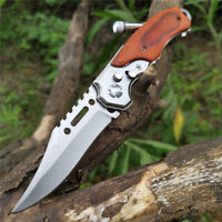 Large Pro Tactical Folding Blade Knife Survival Hunting Camping Knife With LED