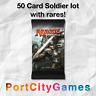 50 Card Soldier lot Magic MTG w/ Rares + FREE bonus Rares & Booster Packs!