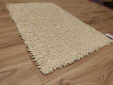 Ivory/Cream Cotton Chenille Shaggy Washable Rug Bed Bath Room Mats Toilet Shower
