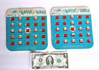 Pair of Vintage Regal TRAFFIC Safety BINGO Cards     Great Game for Driving