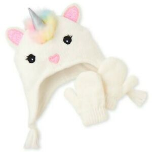 Girls Unicorn Hat Mittens Set Toddler Children's Place Kids Faux Fur Sz: M 2T/3T