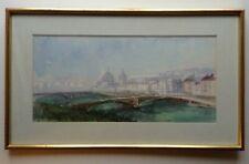 Marie Monique BISSON BARBIER (1906-2004) Rare Aquarelle Ancienne Paysage LYON