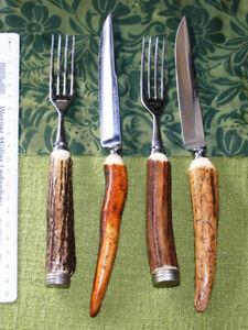 Steakbesteck 4tlg-2xMesser Linder / Gabel Rostfrei Signal ?) Jagd Hirschhorn Neu