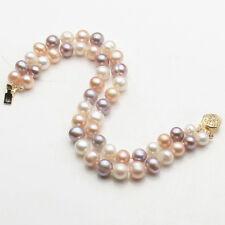 "Multi-Color Pearl  8-9mm 2 Rows Akoya Genuine Natural Freshwater Bracelet 7.5"""