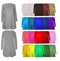 Women Ladies Long Sleeve Midi A-line Skater Swing Dress Plain Casual Shirt Dress