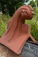 Decorative roof finial 90° angled stone ridge tile copy of Victorian Wave shape