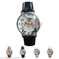 Lady Casual Watch Womens Watch Cat Pattern Leather Band Quart Cute Wrist Watch