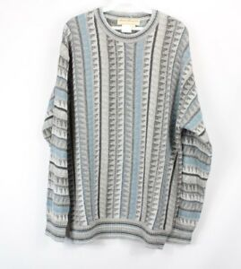 Vintage 80s Streetwear Large Abstract Striped Print Knit Crewneck Sweater