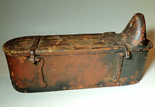 Antique 19thC Primitive TRACTOR TOOL BOX Farm Implement Cast Iron Wood Red Paint