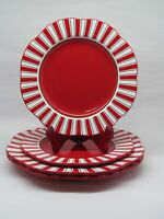 """Pier 1 Candy Cane Red Center Set Of 2 Dinner 11"""" Plates And 2 Salad 9"""" Plates"""