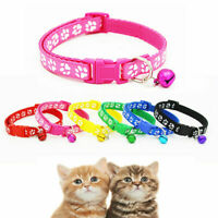 Small Pet Dog Cat Necklace Collar With Bell Adjustable Paw Printed Puppy Collar