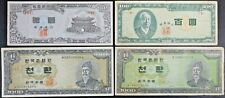 Korea Lot of 4 Bank Notes : 1958 10 Hwan , 1954 100 Hwan , 1961 & 1962 1000 Hwan