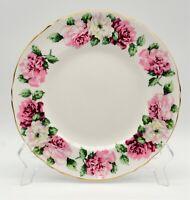 "Crown Staffordshire Bone China Trinity Rose 8 1/2"" Plate Vintage Smooth Rim"
