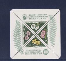 Hongrie  bloc congrès de Bruxelles  fleur dont rose  1958  num: BF 34  *