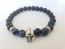 Tulipe D'Or Aga Men's Bracelet - Natural Black Tibetan Stone with Black Mask Cha