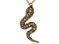 Horoscope Golden Tone Snake Cobra Crystal Rhinestone Pendant Necklace Jewelry