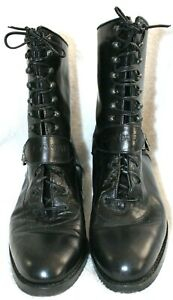 Joan & David Black Italian Leather Lace-Up Buckle Boots 8.5 M
