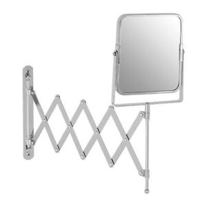Housewares Silver Square Cassini Wall Mounted Mirror Perfect Angle Chrome Fit