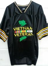 Vietnam Veteran 1960 Flag Military Patch Embroidered Black Jersey Size Xl