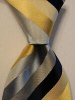 ERMENEGILDO ZEGNA Men's 100% Silk Necktie ITALY Luxury STRIPED Blue/Yellow EUC