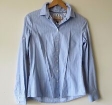 MNG Stripped blue striped cotton blouse - Size 8 (Small) - Career or Casual