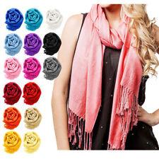 Womens Long Large Stole Pashmina Tassels Shawl Wool Blend Scarf Winter Warm Wrap