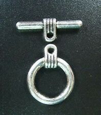 10 Sets Tibetan Silver Circle Toggle Clasp T1191