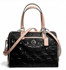 $428 NWT COACH Signature Stripe Embossed Patent Leather Satchel 25189 Black/Tan