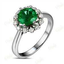 18k Gold 1.23ct Natural Emerald 0.38ct Brilliant Cut Diamond Engagement Ring