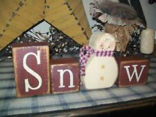 PRIMITIVE WINTER CHRISTMAS BLOCK SIGN~~SNOW~~SNOWMAN~~
