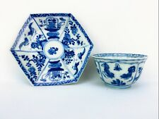 Kangxi Chinese Antique Porcelain Blue And White Tea Cup Set 18th Century