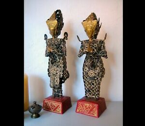 Vintage Balinese Kepeng Dewi Sri Ceremonial Coin Statues