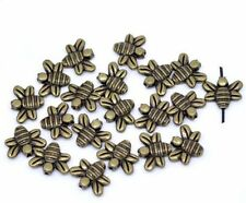 48 Antiqued Brass/gold Plated Casted Bee Beads 14x12mm 1mm Hole