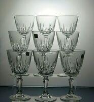 """LUMINARC CRYSTAL CUT GLASS 8 Oz WINE GLASSES SET OF 9 - 6 1/4"""" TALL"""